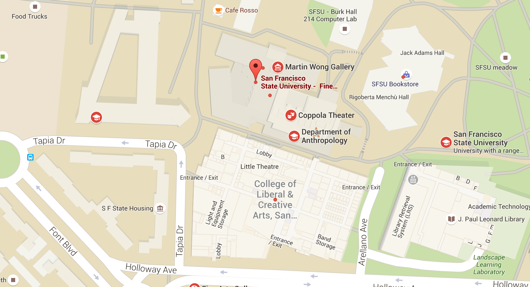 Map of College of Liberal & Creative Arts buildings